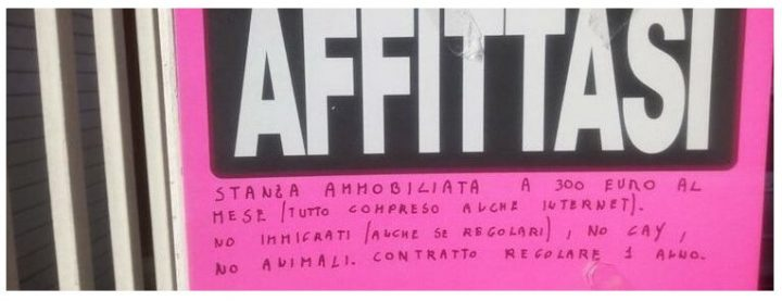 Stanza in affitto a Roma: No immigrati, No gay!
