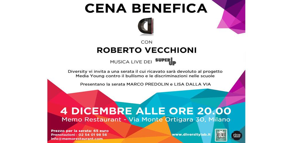 4 dicembre serata benefica con Roberto Vecchioni per Diversity al Memo Restaurant Music Club