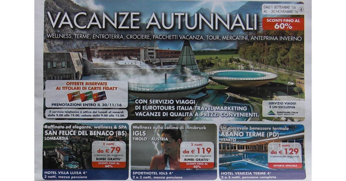 Il nuovo volantino vacanze autunnali 2016 di Esselunga!