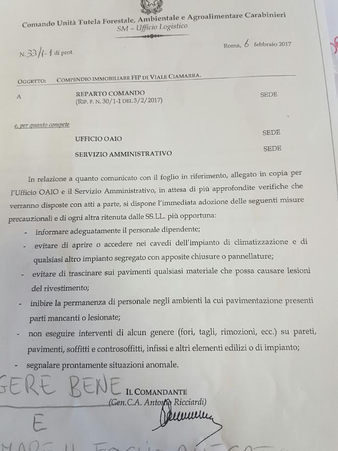 Roma, il Generale avverte: Amianto dappertutto. 100 Carabinieri rischiano la vita
