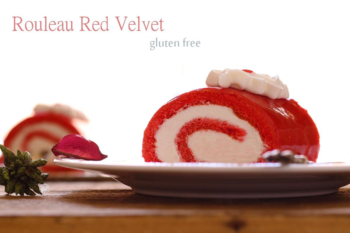 Red velvet cake roll sans gluten