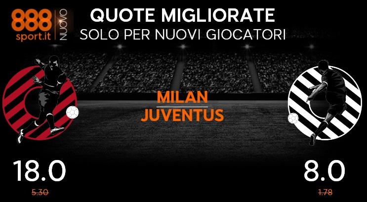 Milan-Juventus: il 61% degli scommettitori punta sui bianconeri