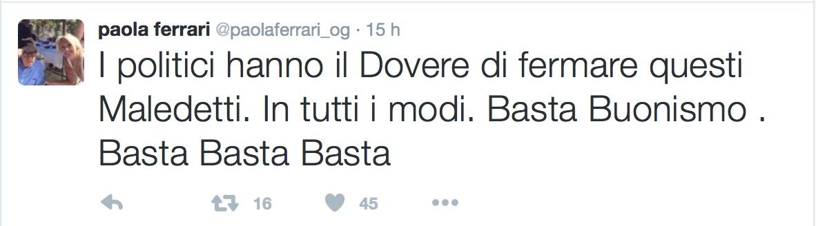 Strage Nizza: Paola Ferrari non ci sta e su Twitter scoppia la polemica