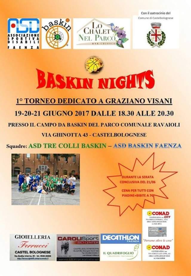 """I° Torneo """"Baskin Night"""" al Parco Ravaioli il 19 – 20 e 21 giugno"""