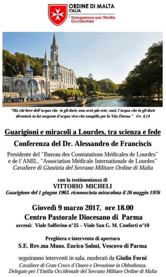 A Parma si parlerà di Lourdes
