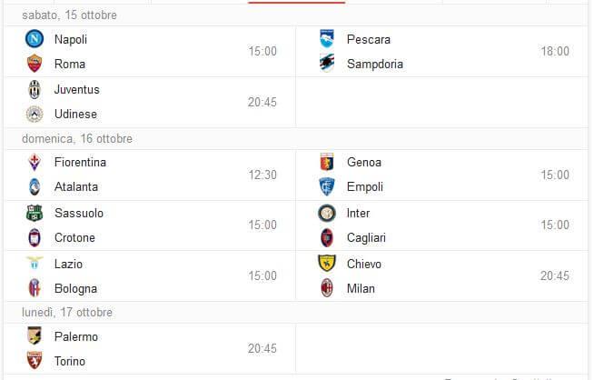 Calendario ed orario ottava giornata Serie A