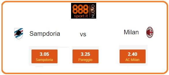 Sampdoria-Milan: Il 42% degli scommettitori punta sul riscatto rossonero a 2,40
