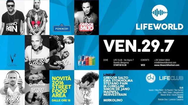 Lifeworld @ Life Club Rovetta (BG): dalle 18 alle 4 e 30 top dj (Gregor Salto, Pain, Gubellini, Simon de Jano e Madwill…), street food & relax nel verde
