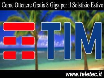 TIM - Gratis 8 Giga per il Solstizio Estivo - Approfittane Subito la Promo Scade a Breve