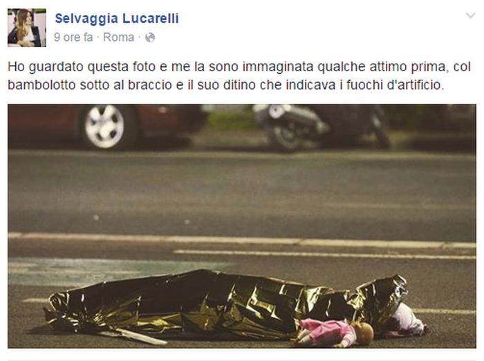 Selvaggia Lucarelli, critiche per la foto sulla strage di Nizza