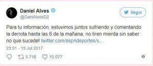 Dani Alves smentisce su Twitter litigata con Bonucci