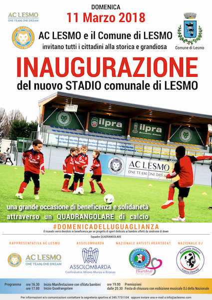 11/3 Inaugura lo Stadio Comunale di Lesmo con un Quadrangolare di Beneficenza a favore dell'Associazione Heartbeat Moving Children