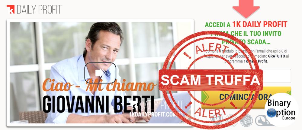 1k daily profit, truffa metodo scam di Giovanni Berti