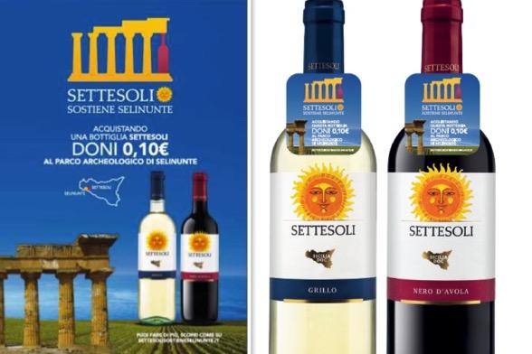"""In tutta Italia, le bottiglie """"Settesoli Sostiene SELINUNTE"""""""