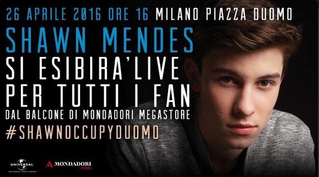 Shawn Mendes live in Piazza Duomo a Milano il 26 Aprile 2016