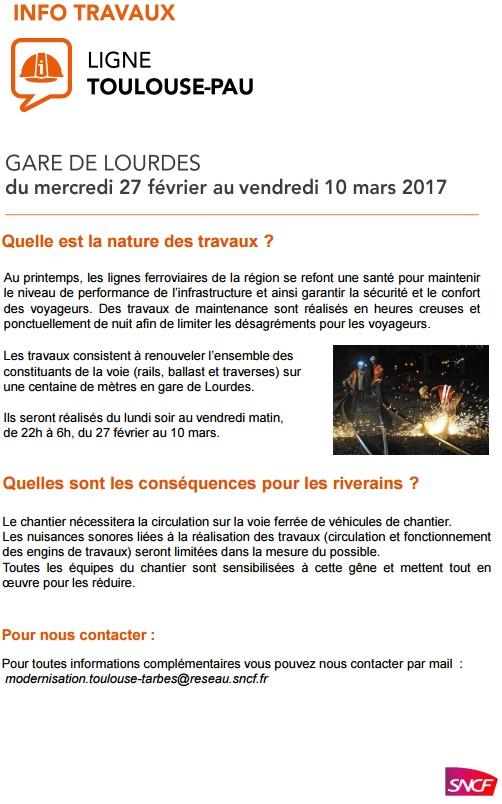 Travaux gare de #Lourdes (Communiqué SNCF)