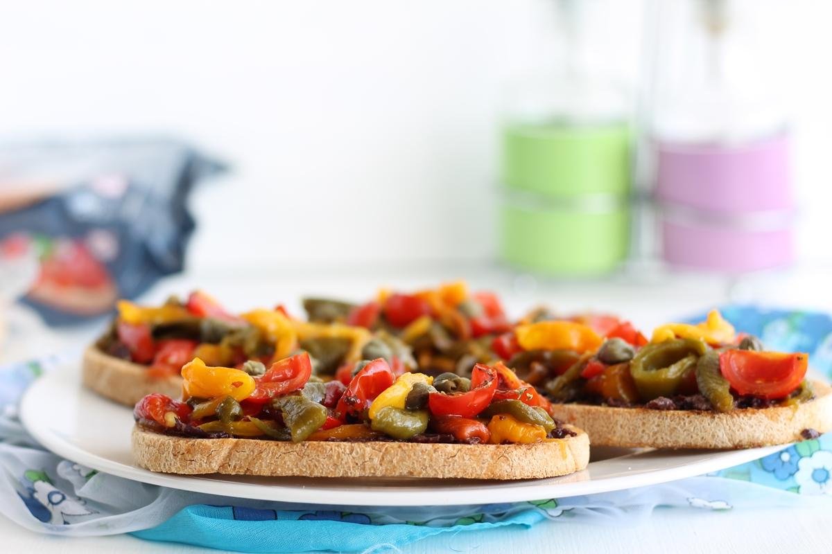 Bruschetta aux poivrons sans gluten ni lactose