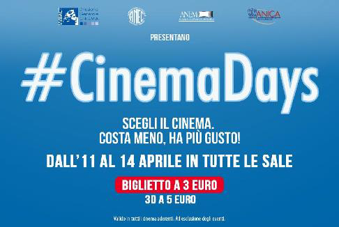 CinemaDays: ad aprile il cinema costa meno