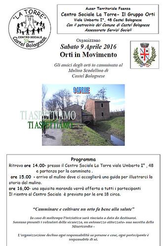 """Sabato 9 aprile """"Orti in movimento"""", una camminata al Mulino Scodellino"""