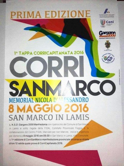 """Domenica 8 maggio a San Marco in Lamis, la prima edizione della """"Corri San Marco, Memorial Nicola..."""
