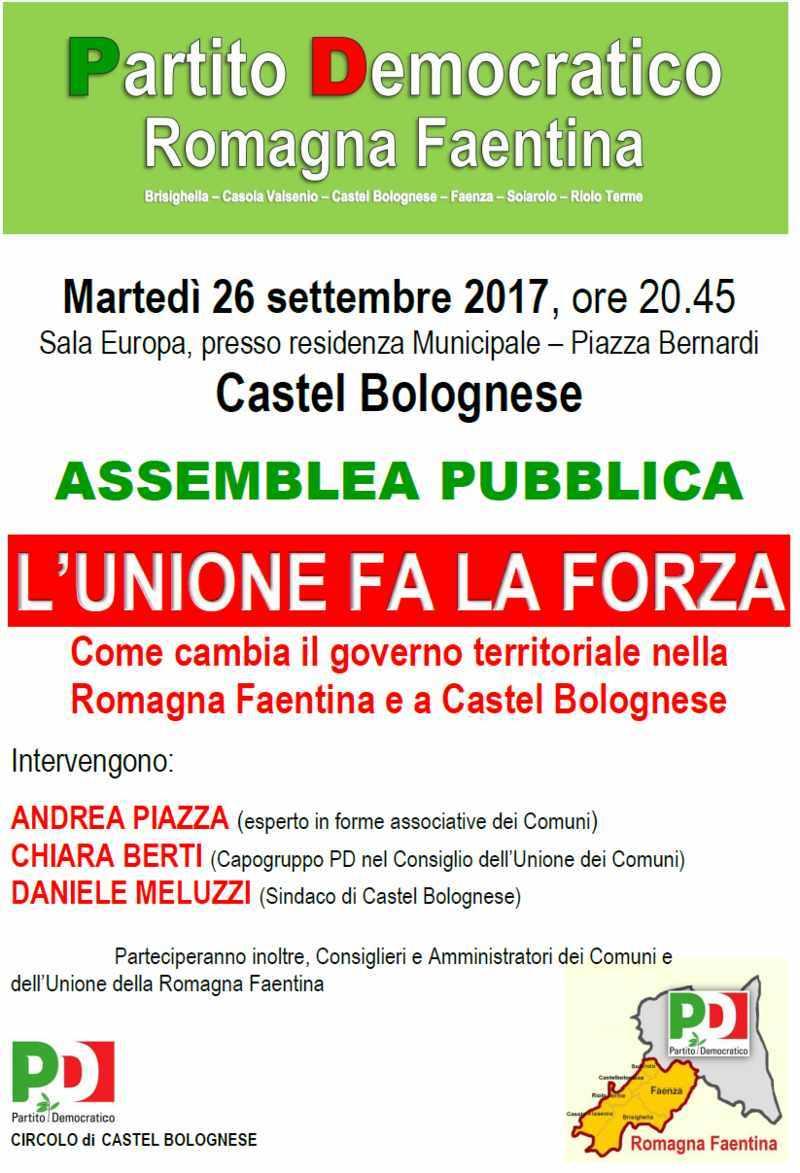 Assemblea pubblica L'UNIONE FA LA FORZA come cambia il governo territoriale, Martedì 26 settembre a...