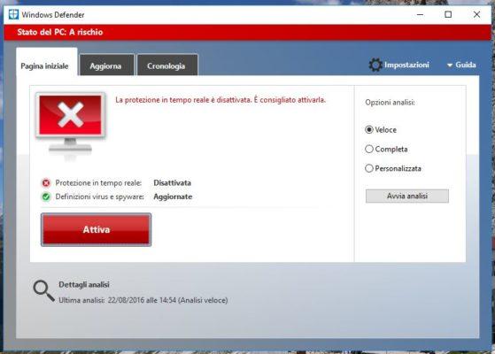 Disattivare Windows Defender su Windows 10 e mettere un nuovo Antivirus